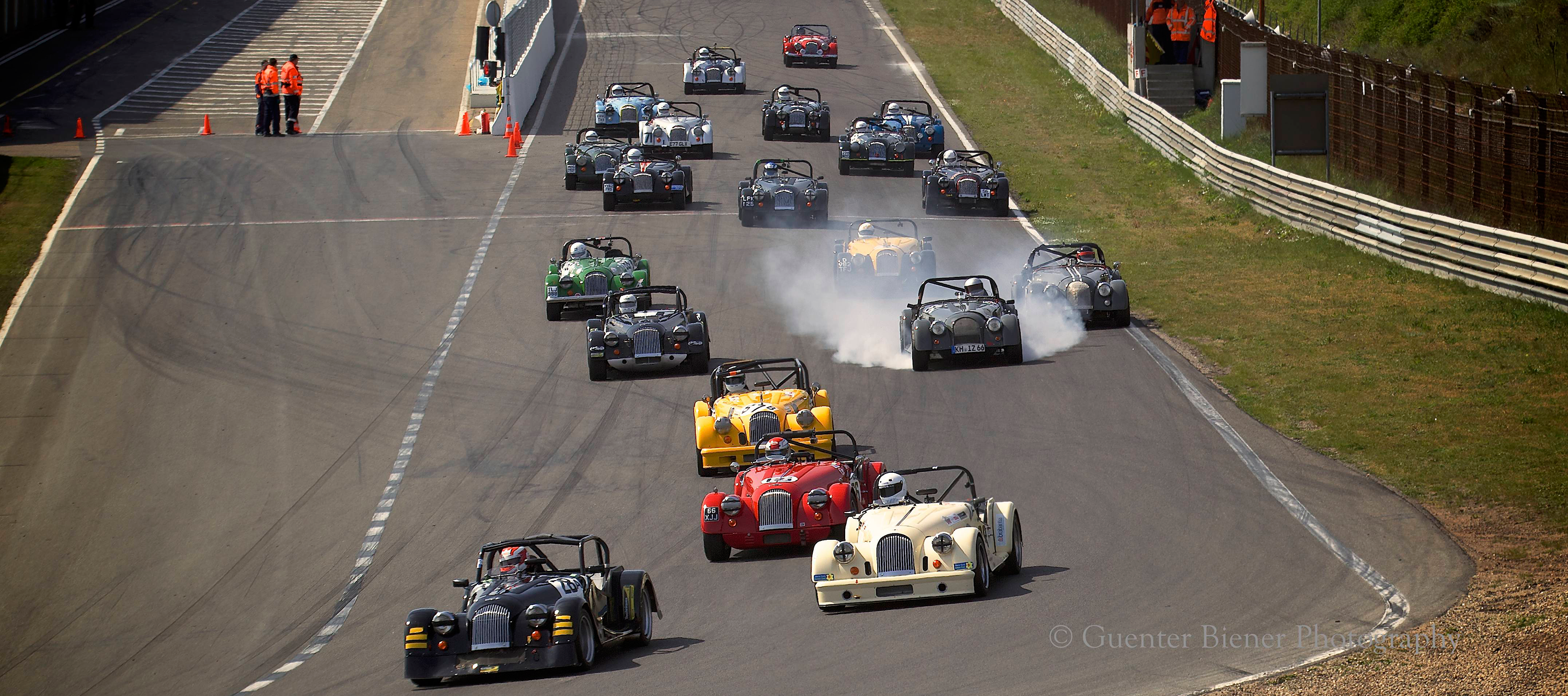 Morgan Challenge competitors having fun at Zandvoort in Holland